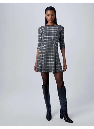 Huxel WLD007193 Jakarlı Mini Elbise Siyah